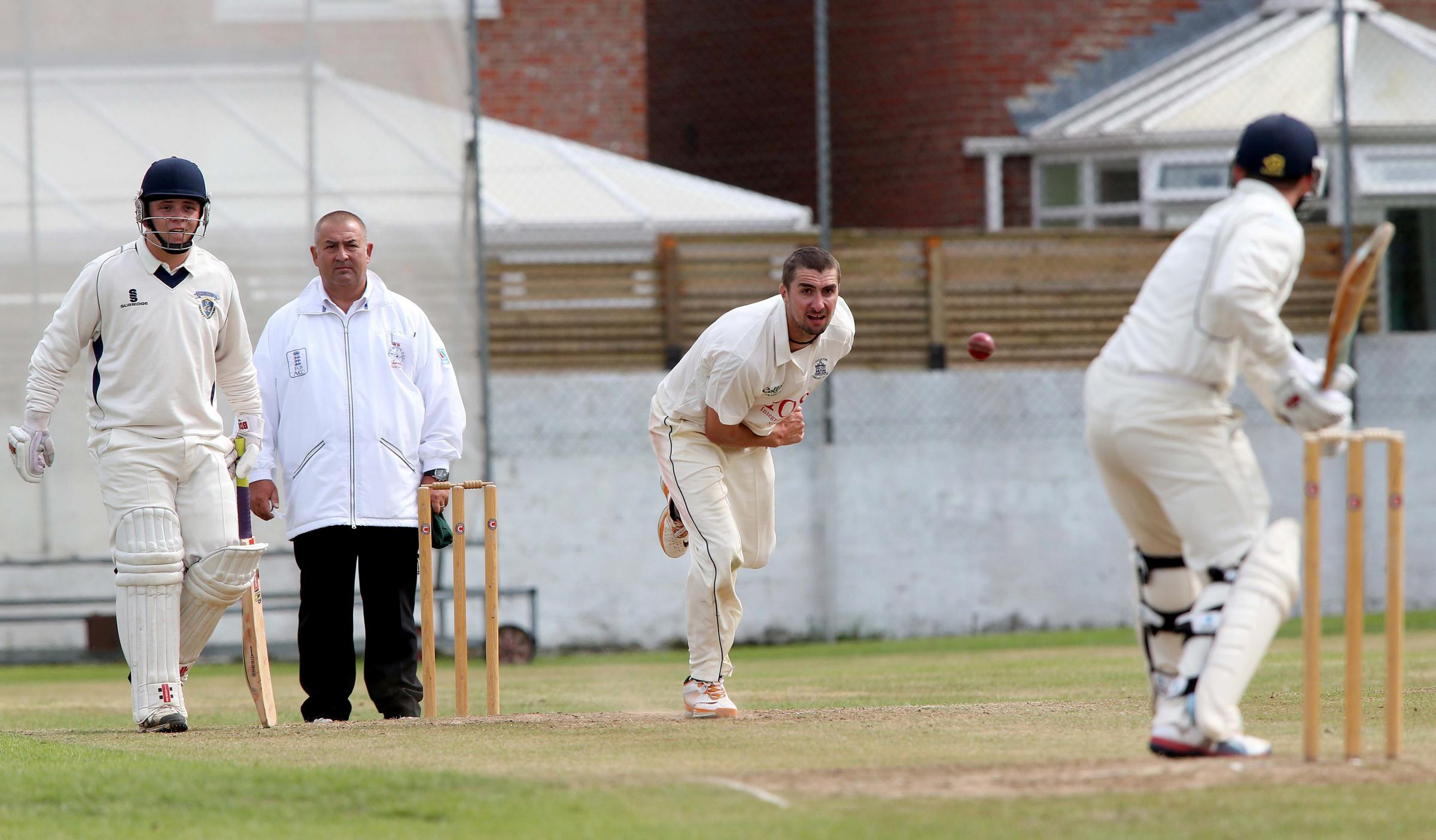 : Stockton Cricket Club bowler Kevin Ward in action for Dukes North  East Premier League during the game against Durham Cricket  League. Picture: DAVID WOOD.