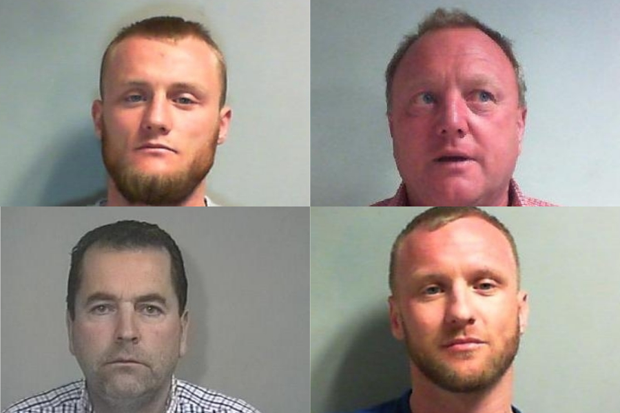 Clockwise, Henry Hartley Thomas, Shaun Thomas Snr, Shaun Thomas Jnr and Thomas Mounsey, rogue traders who were jailed for a total of 14 years for defrauding householders and businesses