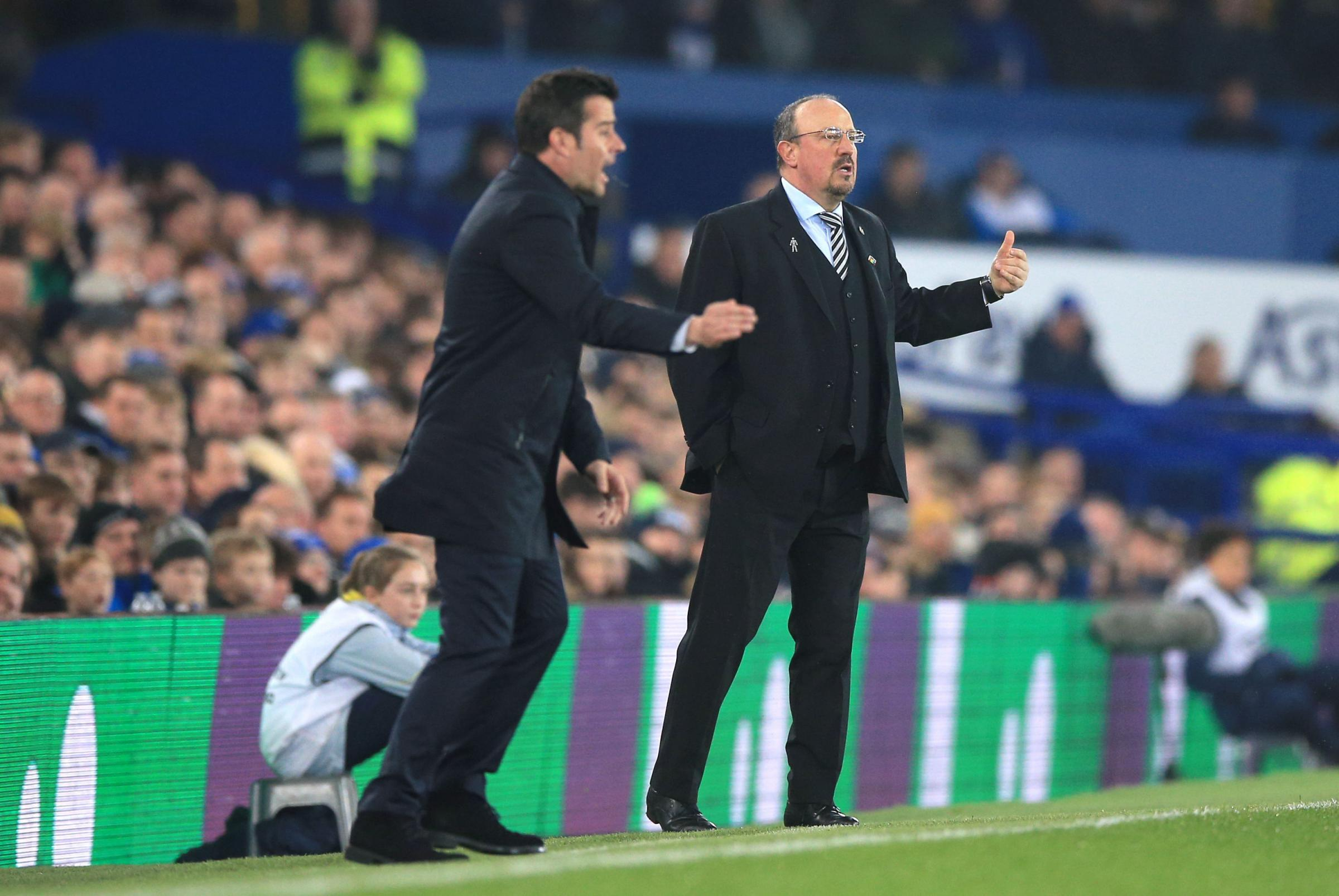 Newcastle United manager Rafael Benitez (right) and Everton manager Marco Silva on the touchline during the Premier League match at Goodison Park, Liverpool. PRESS ASSOCIATION Photo. Picture date: Wednesday December 5, 2018. See PA story SOCCER Everton. P
