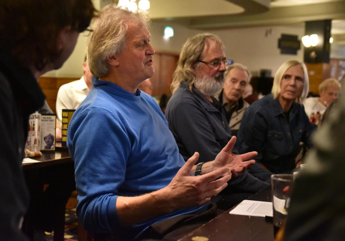 NO-DEAL TOUR: Wetherspoon's boss Tim Martion outlines his 'no-deal' Brexit argument to drinkers in Bradford, yesterday, as part of a national tour Picture: BRADFORD ARGUS AND TELEGRAPH
