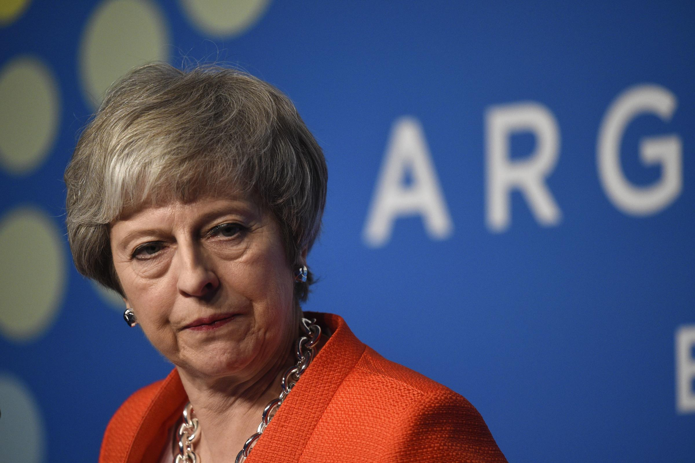 Britain's Prime Minister Theresa May speaks during a press conference after the G20 Leader's Summit in Buenos Aires, Argentina, Saturday, Dec. 1, 2018. Leaders from the Group of 20 industrialized nations met for two days in Buenos Aires. (AP Photo