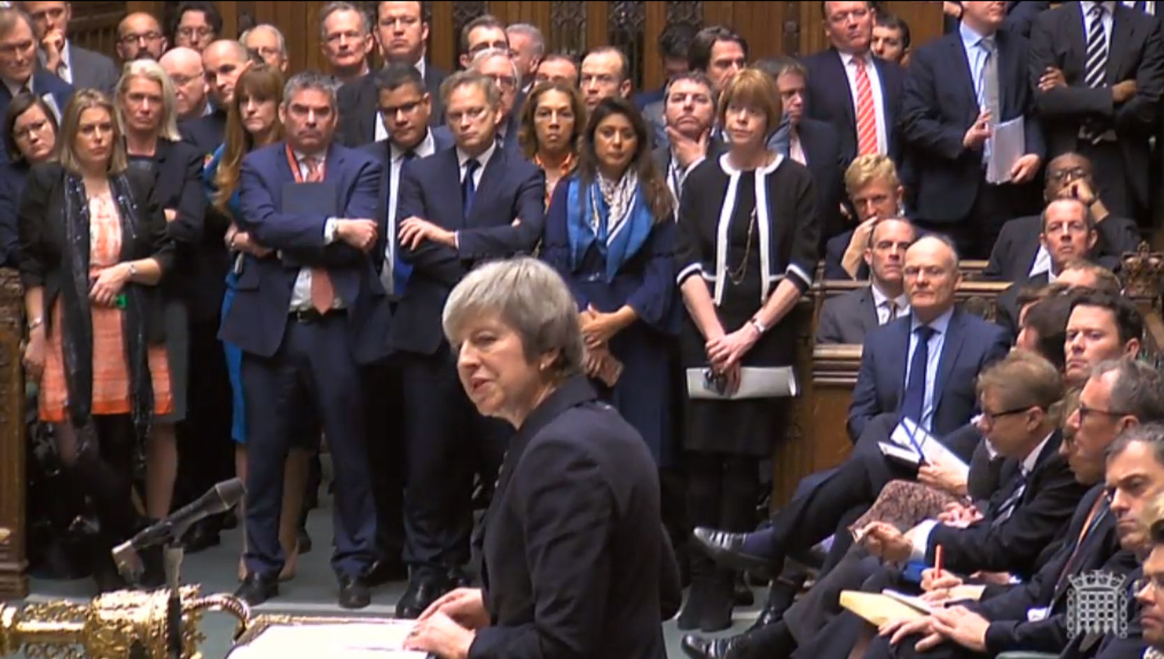 "Prime Minister Theresa May making a statement in the House of Commons, London, where she told MPs that tomorrow's ""meaningful vote"" on her Brexit deal had been deferred. PRESS ASSOCIATION Photo. Picture date: Monday December 10, 2018. See PA"
