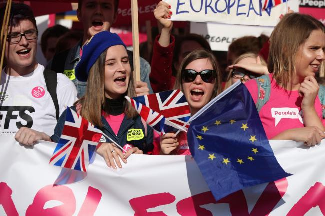 Anti-Brexit campaigners take part in the People's Vote March for the Future in London, a march and rally in support of a second EU referendum. Picture: Yui Mok/PA Wire