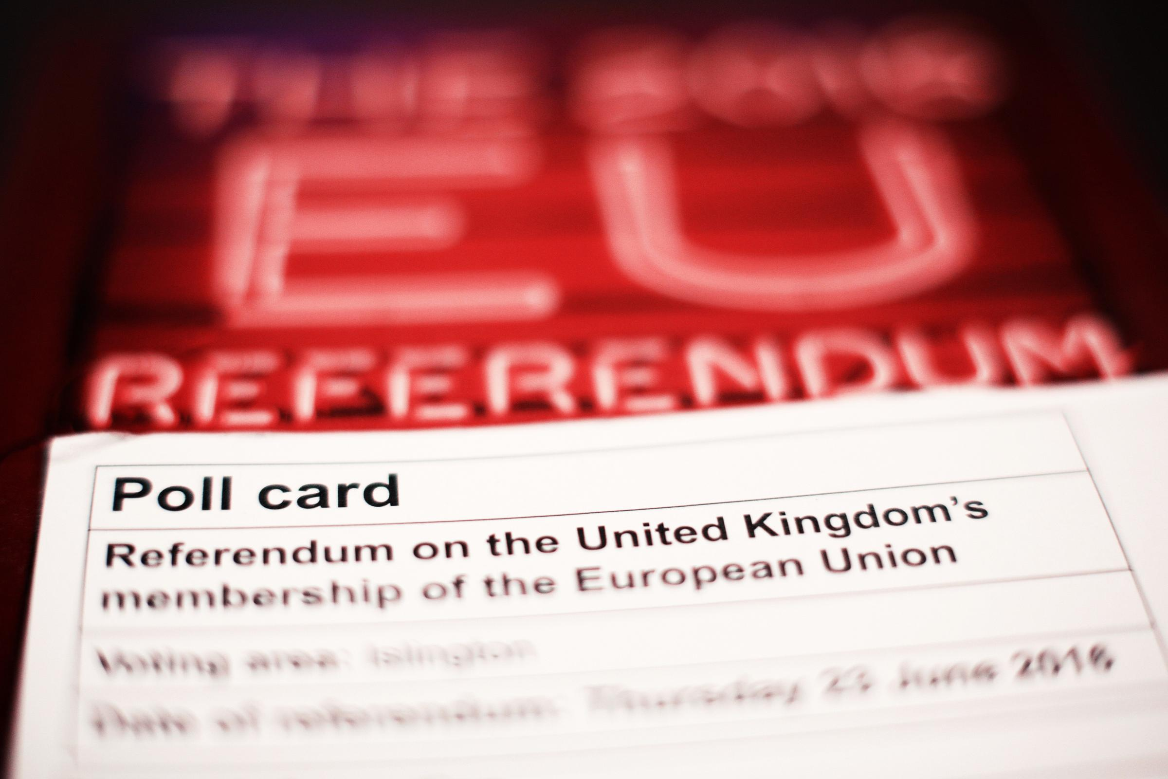 a polling card and voting guide for the 2016 EU Referendum. Picture: Yui Mok/PA Wire