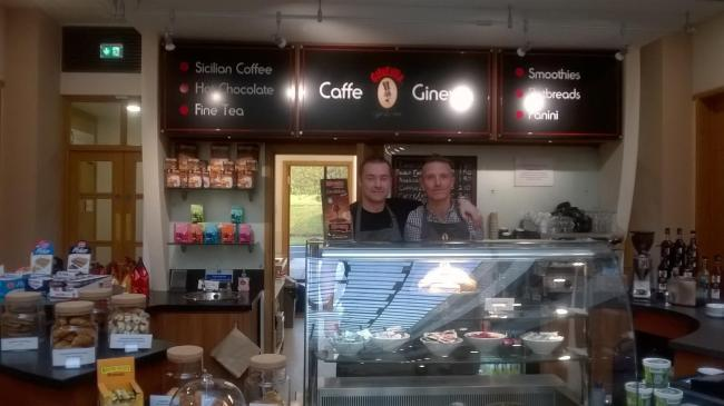 ITALIAN FLAVOUR: Caffe Ginevra owner Anthony Finn, left. with employee Callum Little