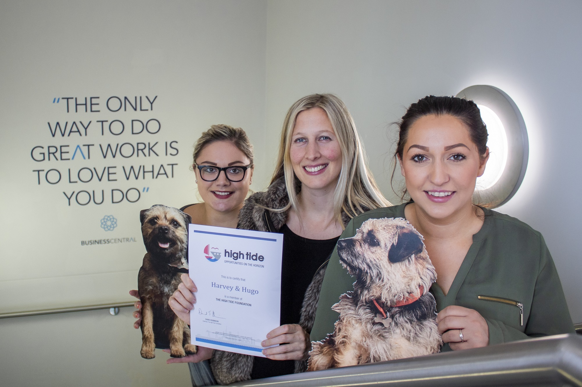 Harvey & Hugo account manager, Lizzie Turner-Jones; managing director, Charlotte Nichols and High Tide general manager, Lauren Bywater