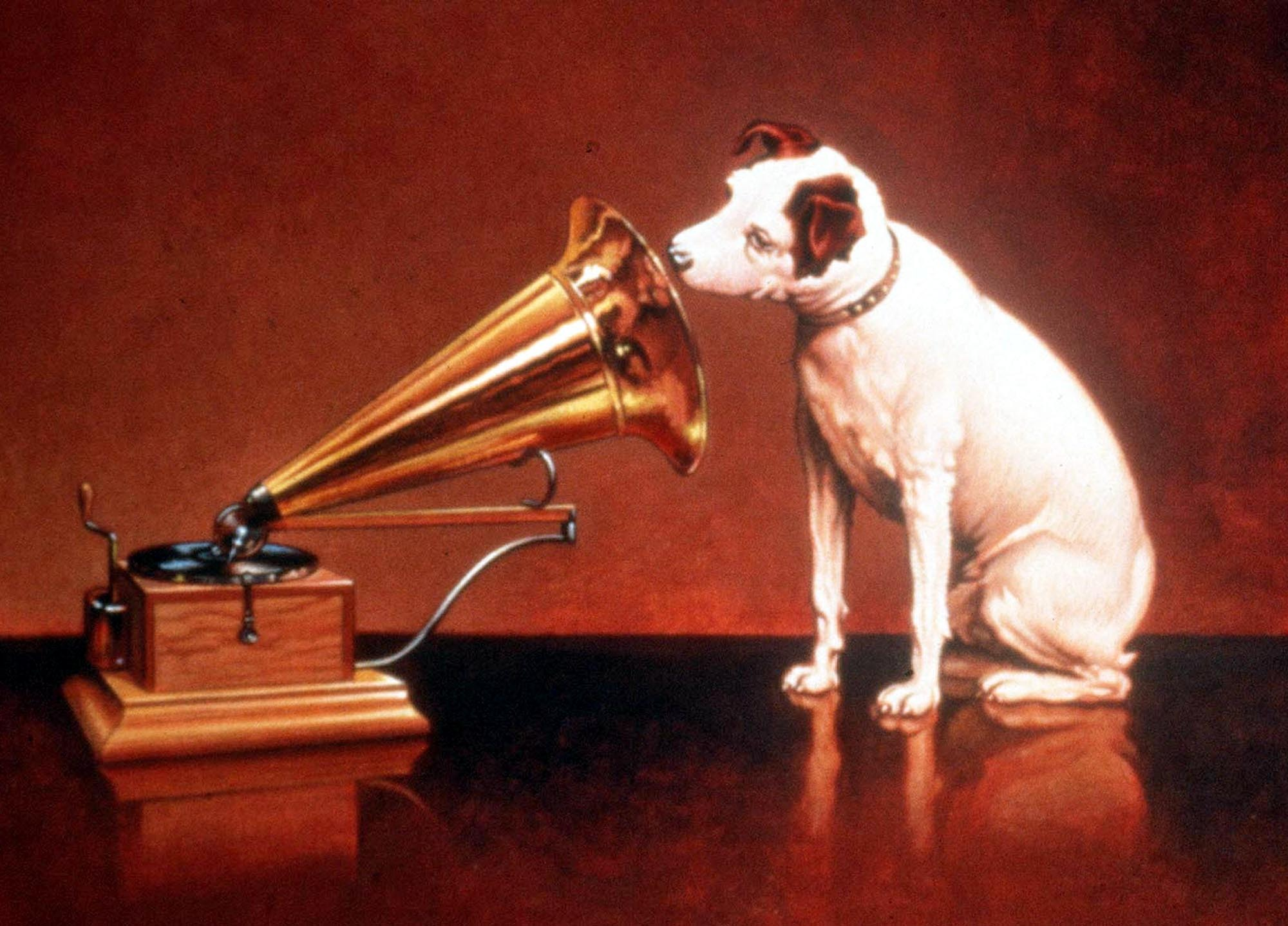 The original His Master's Voice image after the cylindrical phonograph was replaced by a flat gramophone