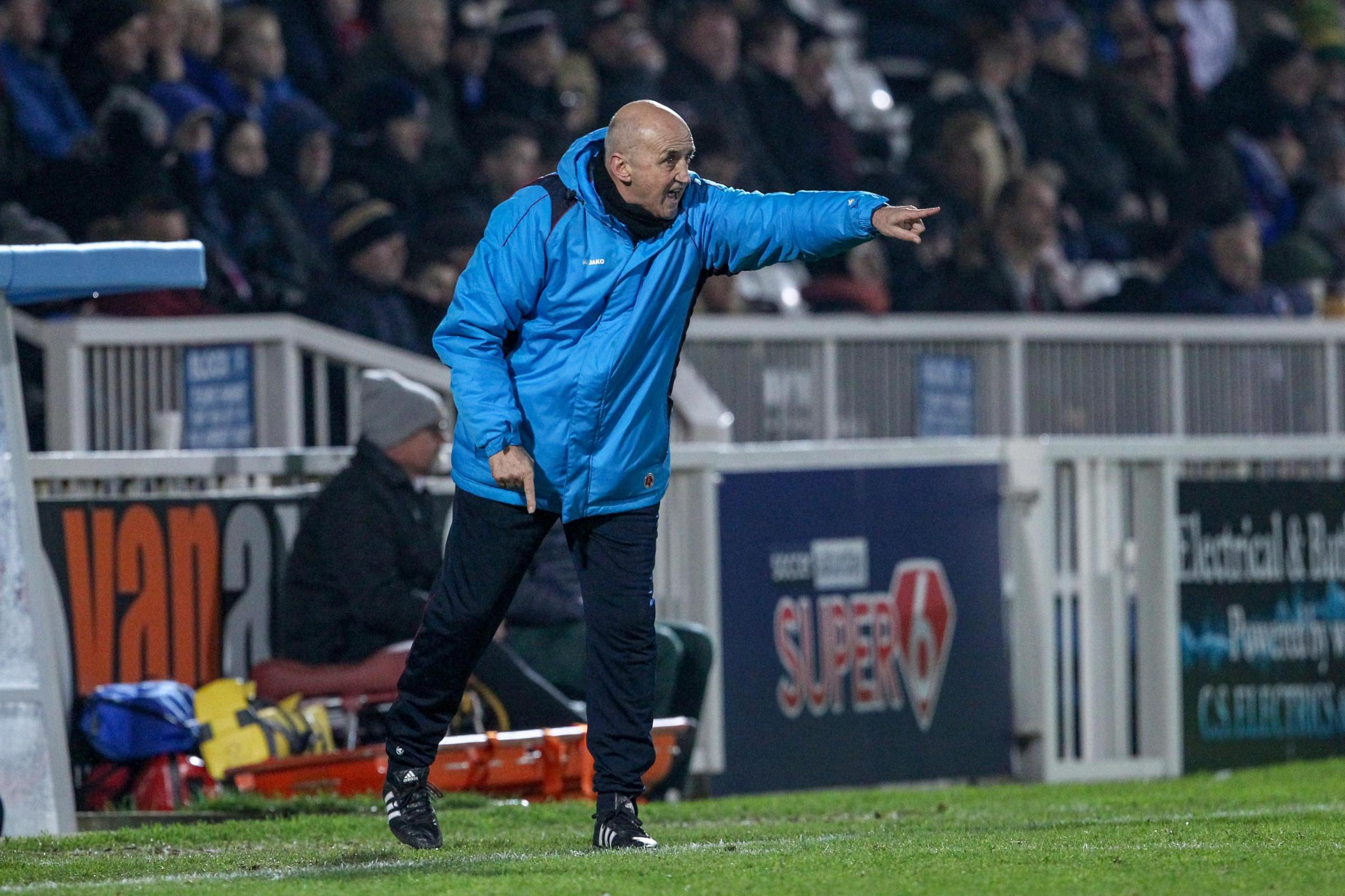 Hartlepool United manager Richard Money during the Vanarama National League match between Hartlepool United and Maidstone United  at Victoria Park, Hartlepool on Saturday 5th January 2019. (Credit: Mark Fletcher | Shutter Press).