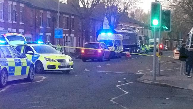 At around 3.40pm on Tuesday, police officers were called to reports of a serious collision on Wilderspool Causeway, Warrington. Picture via Warrington Guardian