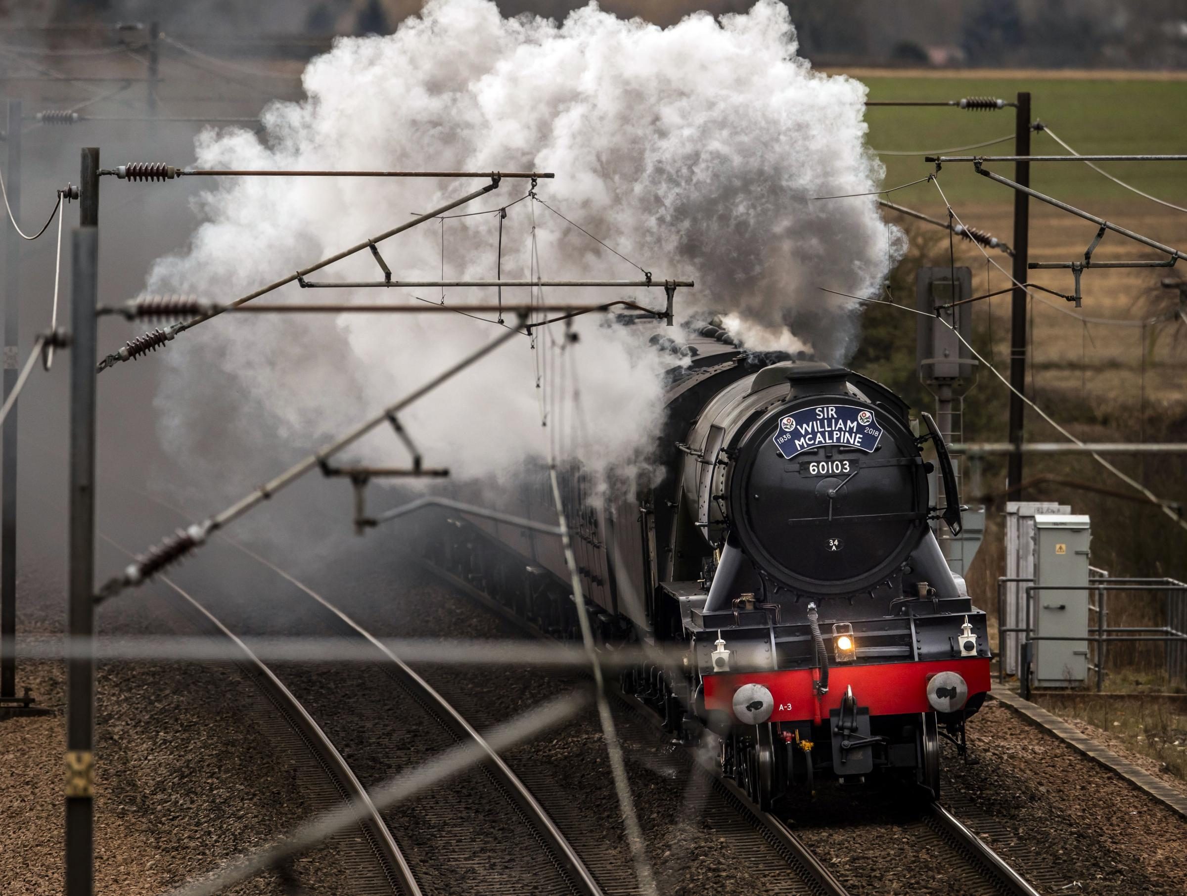STEAMING AHEAD: The Flying Scotsman on its way to York on the East Coast Main Line