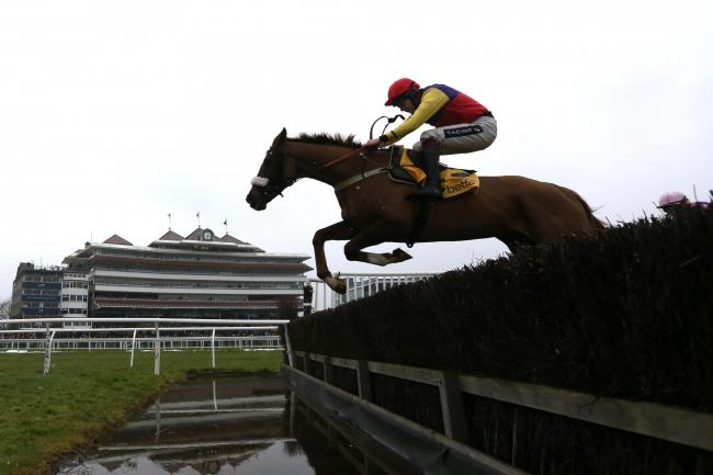 Native River ridden by Aidan Coleman goes ove the water jump before going on to win The Betfair Denman Steeple Chase Race run during Betfair Super Saturday at Newbury Racecourse. PRESS ASSOCIATION Photo. Picture date: Saturday February 11, 2017. See PA st