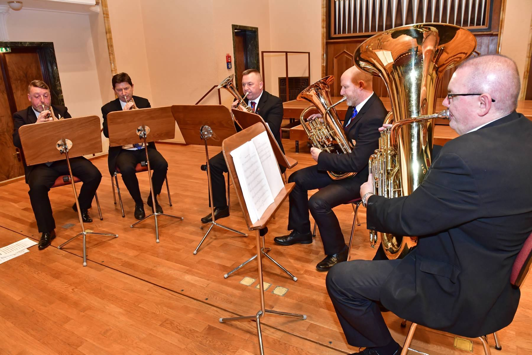 GERMAN VISIT: Members of the NASUWT Riverside Band in Tübingen at the launch of a year long programme of celebrations to mark the town's twinning with County Durham