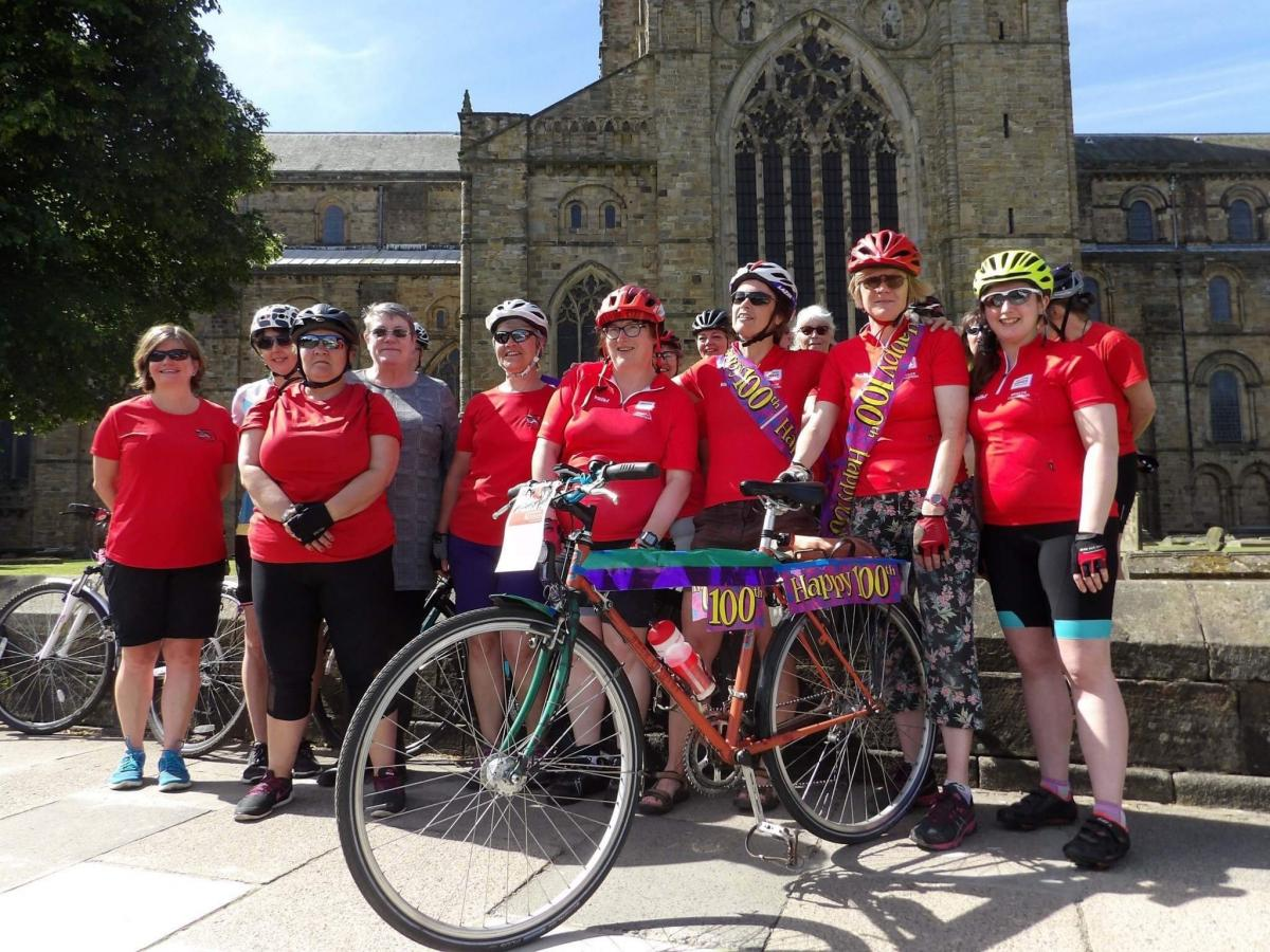 Members of the Breeze Durham women's cycling group