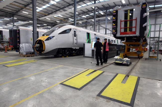 Hitachi Intercity Express Train Launch at the Hitachi Europe plant at Newton Aycliffe. Inside the factory. Picture: CHRIS BOOTH