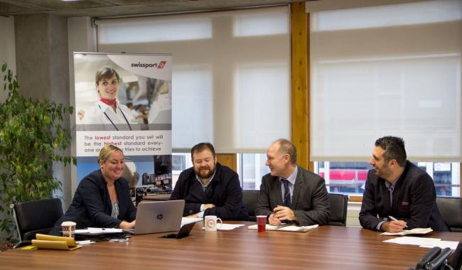 TAKE OFF: Nicola Beveridge,  Swissport Recruitment Services Manager (North Region), Dr.James Scott, Head of Tourism, Hospitality and Events, Professor Lawrence Bellamy and Senior Lecturer Serkan Uzunogullari from the University of Sunderland