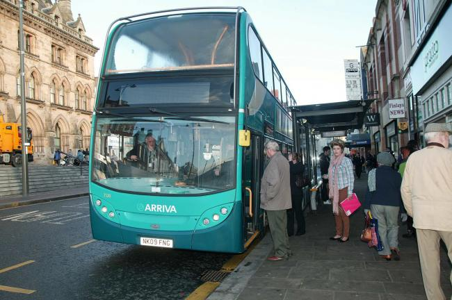 Passengers board the Arriva number 1 bus in Darlington......