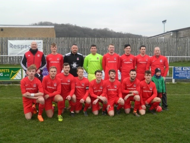 Rear, left to right: Coach Jim Tomlinson, Dan Tomlinson, Dave Gardner, Adam Magson, Matty Butler, Dan Ward, Jonny Brown, Manager Alex Strickland.Front row, left to right: Mascot Callum Abbey, Keelan Simpson, Tom Richardson, Dave Wilkinson, Chris Hodgson (
