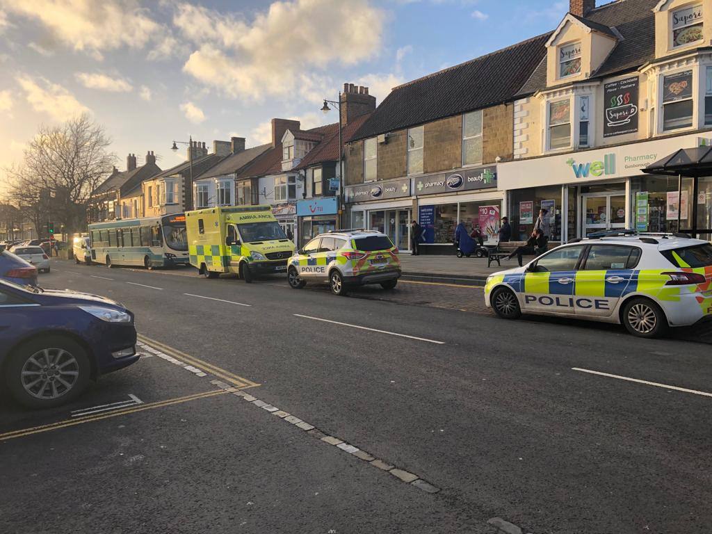 Emergency services with the bus on Guisborough High Street. Picture: Karen Westcott