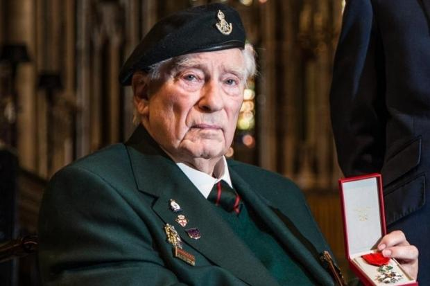 WAR HERO: Charles Eagles presented with the Legion D'Honneur, France's highest military honour, at Durham Cathedral