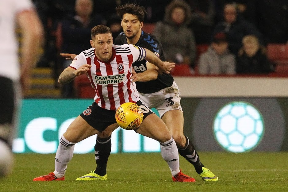 Billy Sharp of Sheffield United in action with George Friend of Middlesbrough. Picture: MI News and Sport