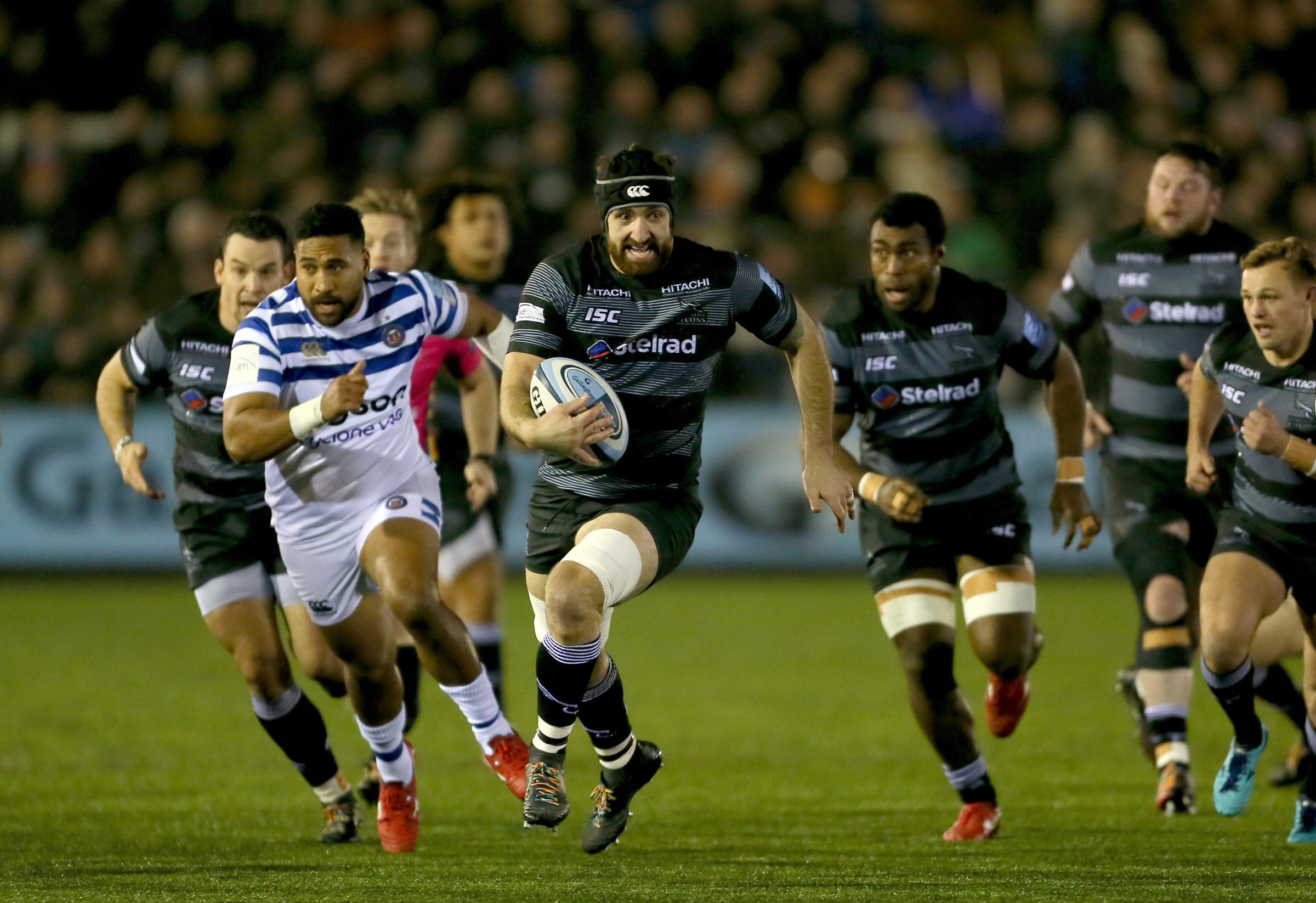 Newcastle Falcons Gary Graham makes a run during the Gallagher Premiership match at Kingston Park, Newcastle..