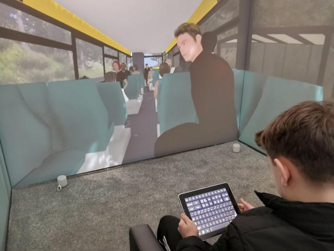 A child operating the Blue Room, a virtual reality suite that allows specialists to create a safe environment for children with autism to work their way through scenarios and confront their fears with the help of a therapist. Picture: Third Eye NeuroTech/