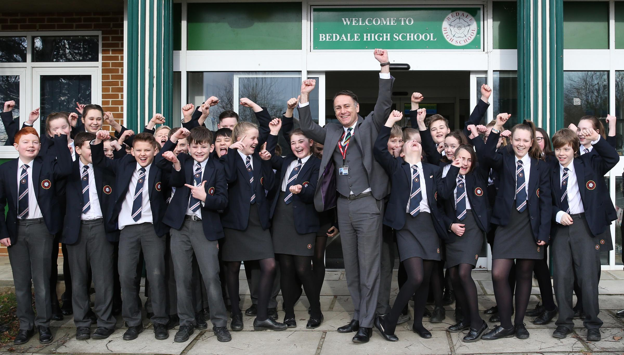 Head teacher, Tony Rawdin and pupils of Bedale High School celebrate the good Ofsted report.  Picture: Richard Doughty Photography