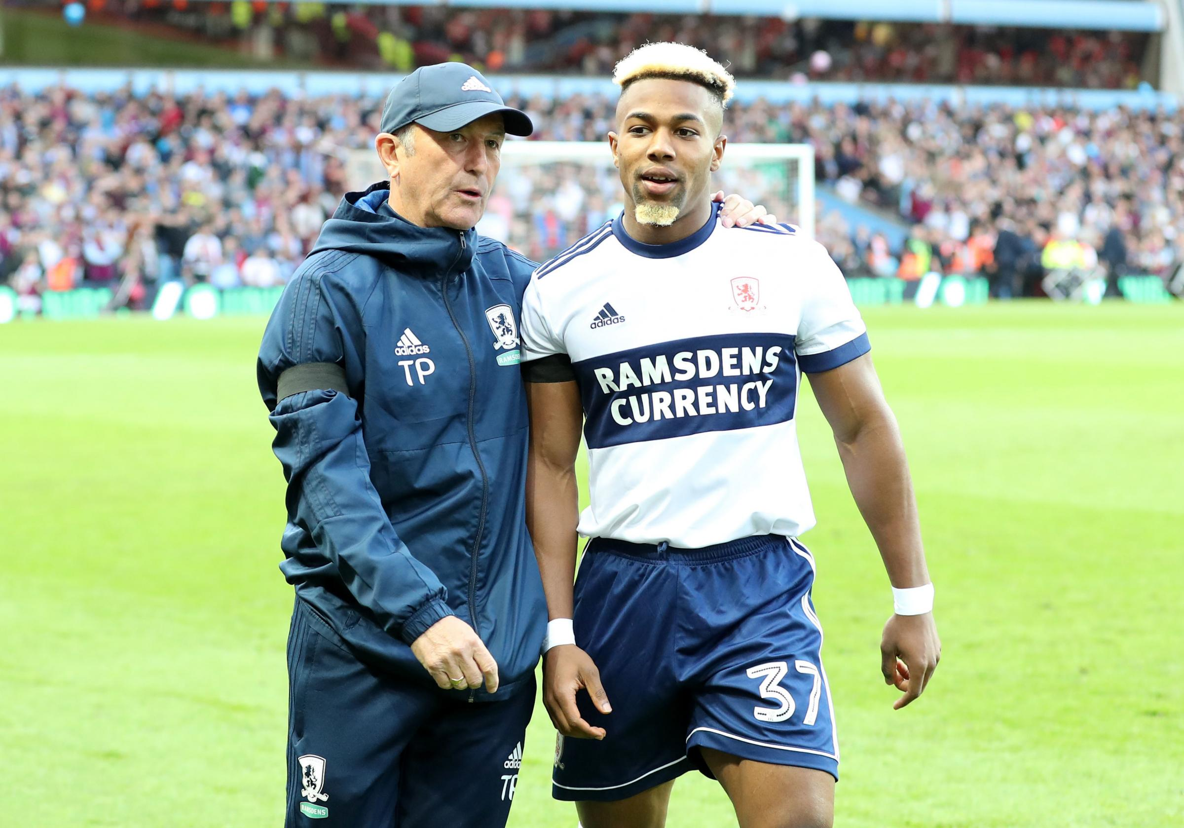 Middlesbrough manager Tony Pulis (left) and Adama Traore during the Sky Bet Championship Playoff match at Villa Park, Birmingham