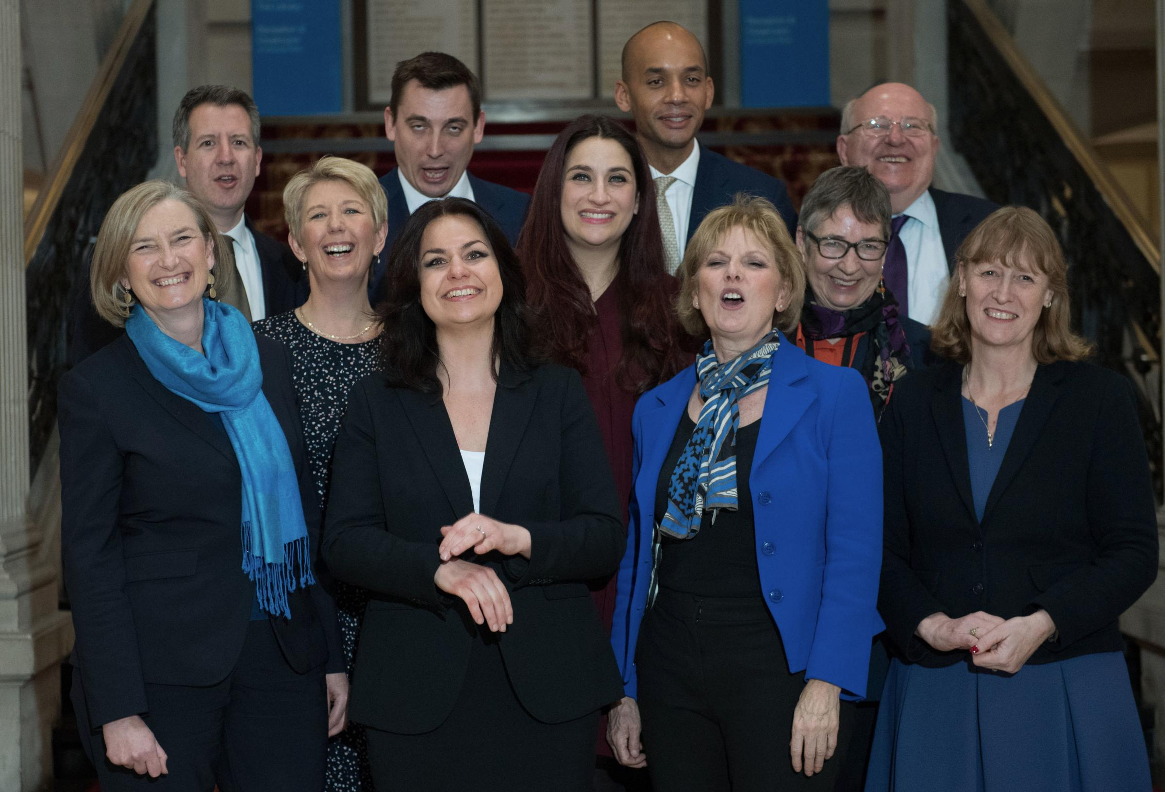 (back row left to right) Chris Leslie, Gavin Shuker, Chuka Umunna and Mike Gapes, (middle row, left to right) Angela Smith, Luciana Berger and Ann Coffey, (front row, left to right) Sarah Wollaston, Heidi Allen, Anna Soubry and Joan Ryan, following a pres