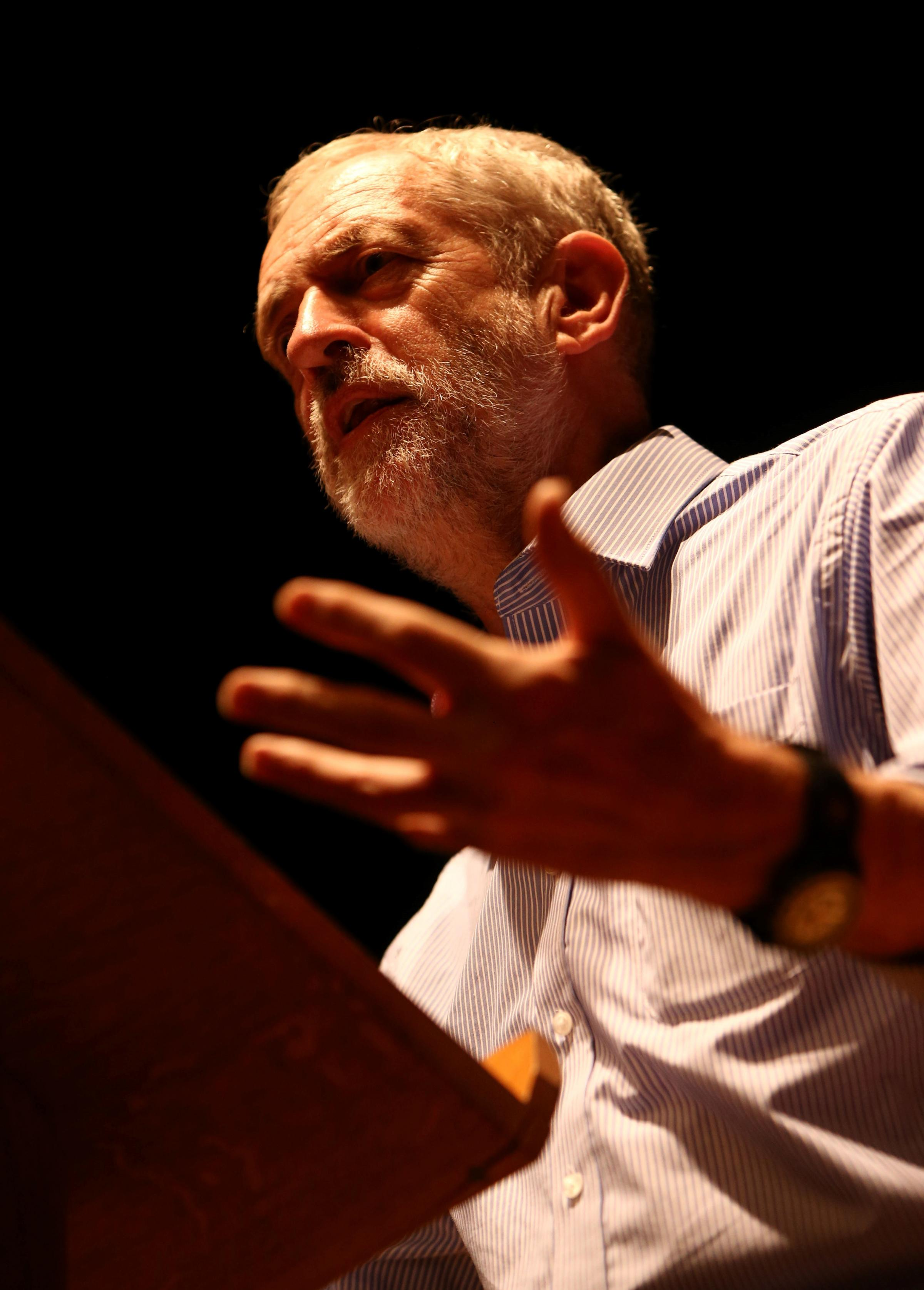 RALLY: Jeremy Corbyn on the stage of Middlesbrough Town Hall for a Labour party leadership rally. Picture: TOM BANKS.