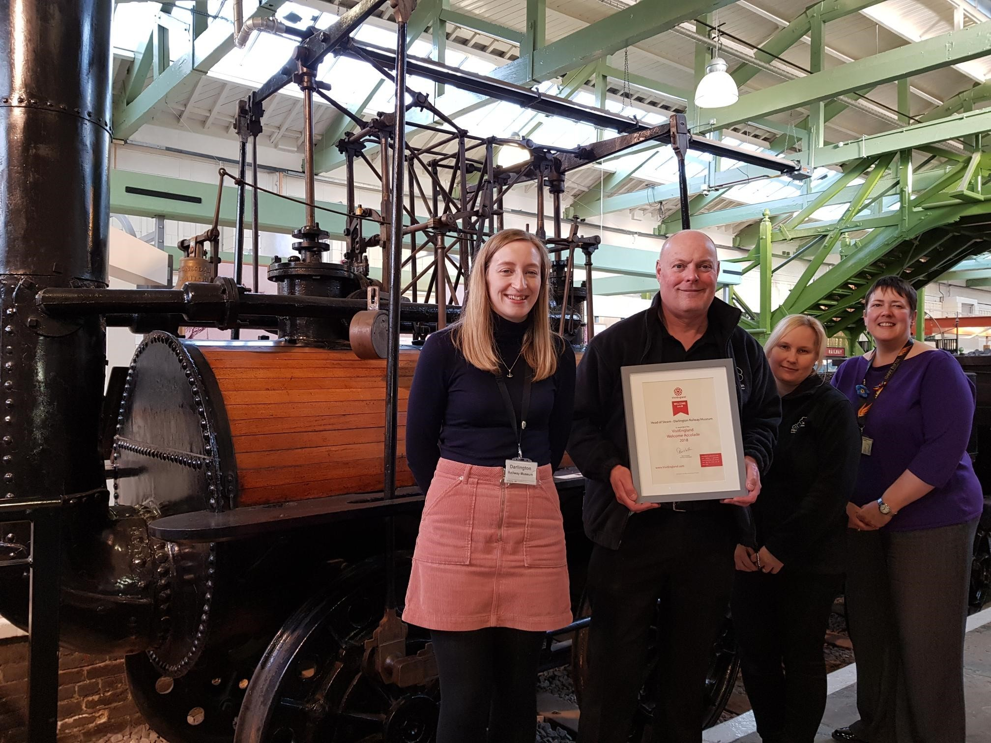 PRIZED ACCOLADE: Head of Steam staff Alison Grange, Les Hardman, Kelly McStravick and Sarah Gouldsbrough with the VisitEngland Welcome Accolade certificate