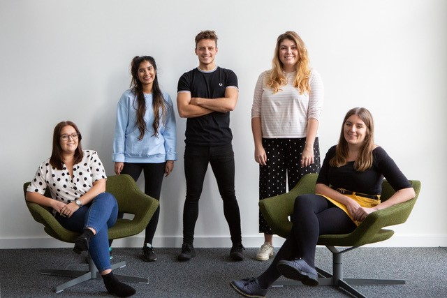 Making their mark with The Grad Scheme: L-R: Hannah, Sunaina, Lee, Holly and Alex