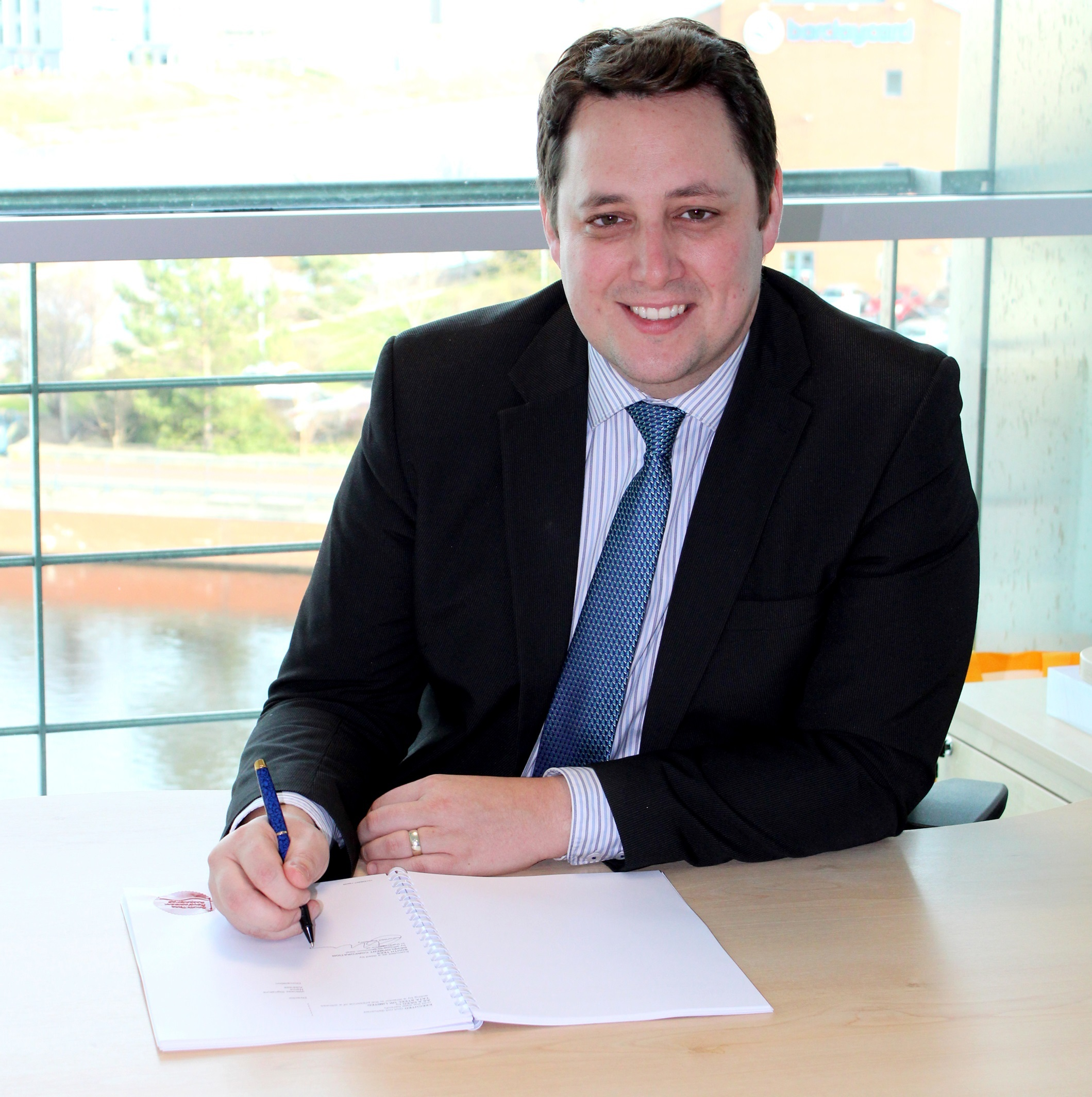 DONE: Tees Valley Mayor Ben Houchen signing the deal to secure land on the former Redcar steelworks