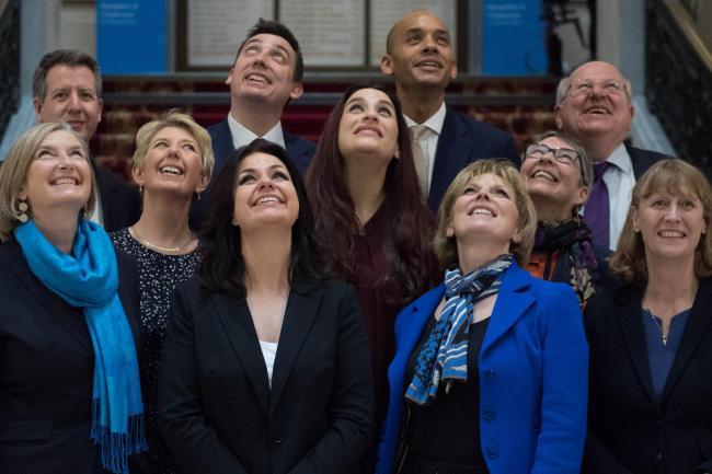 CARVE UP: (Back row left to right) Chris Leslie, Gavin Shuker, Chuka Umunna and Mike Gapes, (middle row, left to right) Angela Smith, Luciana Berger and Ann Coffey, (front row, left to right) Sarah Wollaston, Heidi Allen, Anna Soubry and Joan Ryan, follow