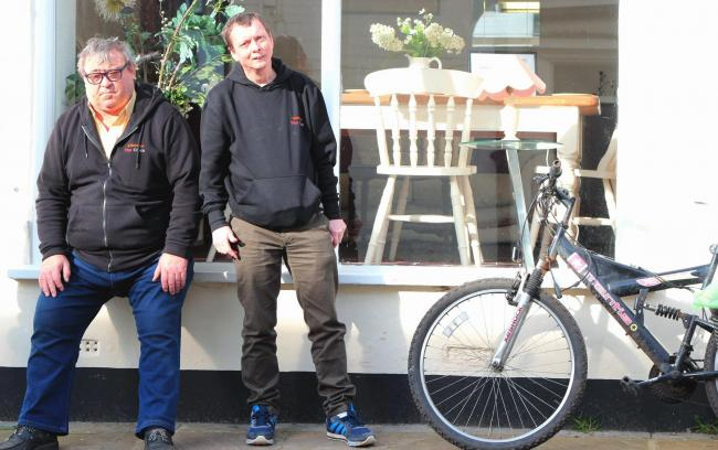 CYCLING COMMUNITY: Volunteers Graham Adlington (left) and David Tervit outside Clock Works Community Re-use Store and workshops in Thirsk