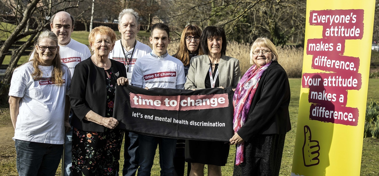 MENTAL HEALTH: Cllr Hovvels (right) with Amanda Healy, director of public health for County Durham (second from right) and Cllr Audrey Laing, Cabinet support member for adult and health services (third from left.) They are joined by Chris Affleck from IiC