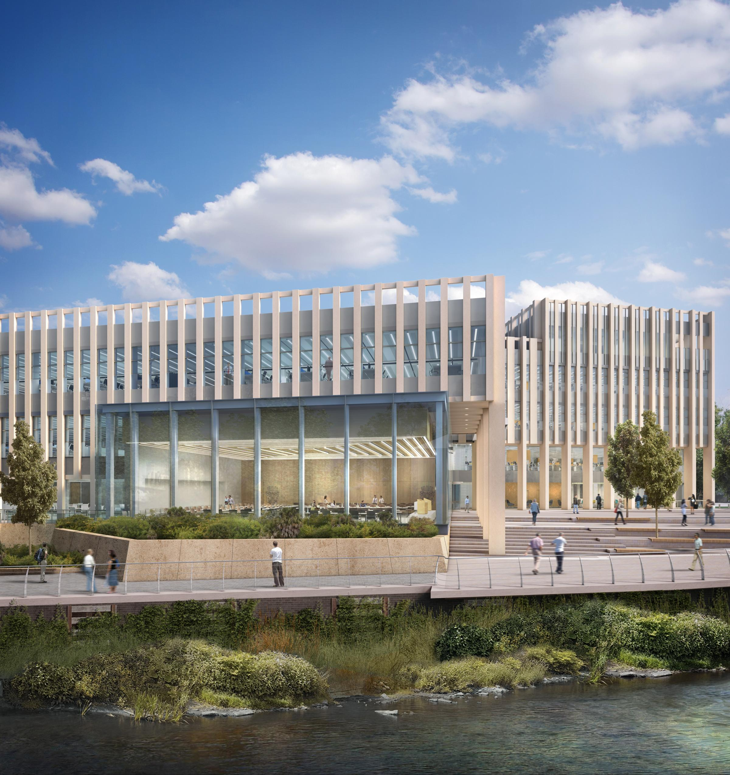 The designs for Durham County Council's new headquarters on the Sands car park, Durham.