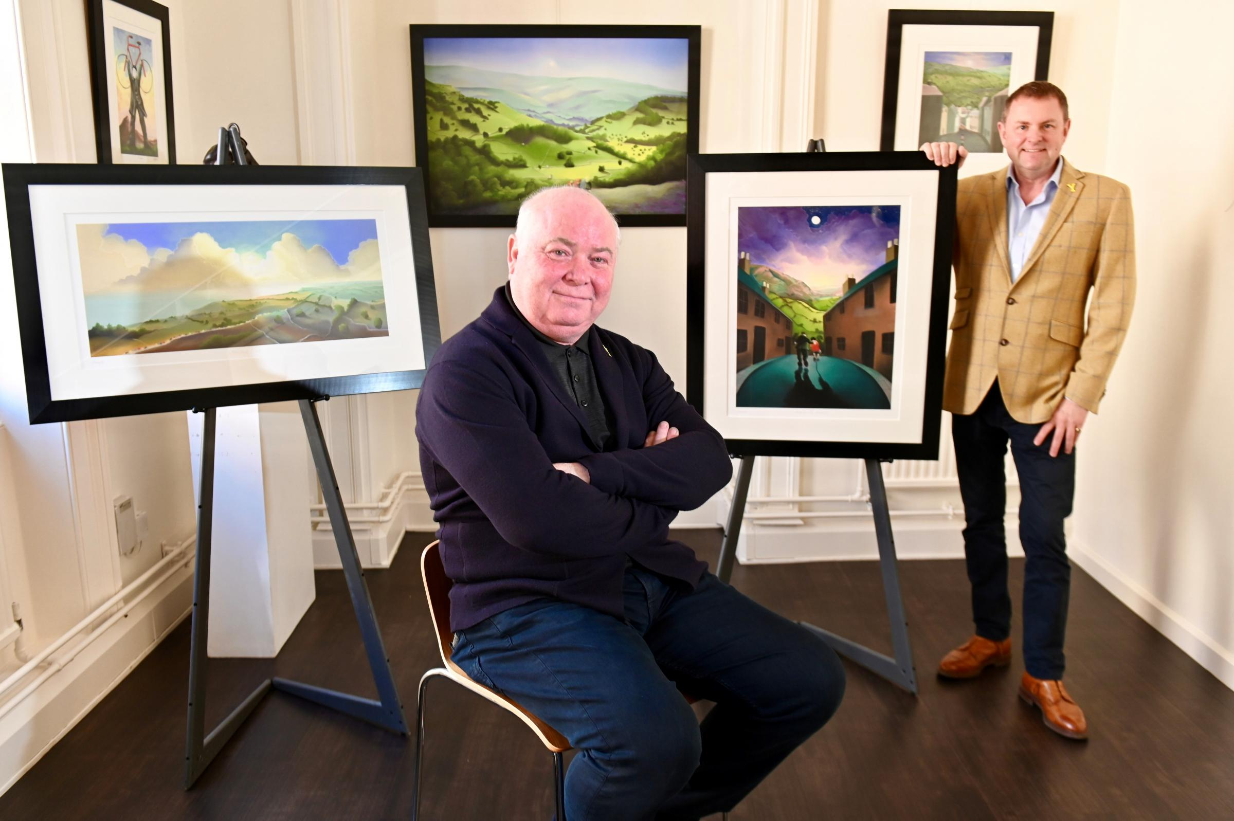Artist Mackenzie Thorpe and Sir Gary Verity of Welcome to Yorkshire