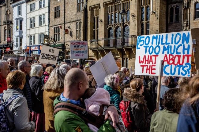 PROTEST: Residents against Durham County Council building a new civic building at the Sands. Picture: SARAH CALDECOTT