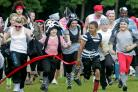 PIRATE CHARGE: The start of the Pirate Fun Run in Durham City