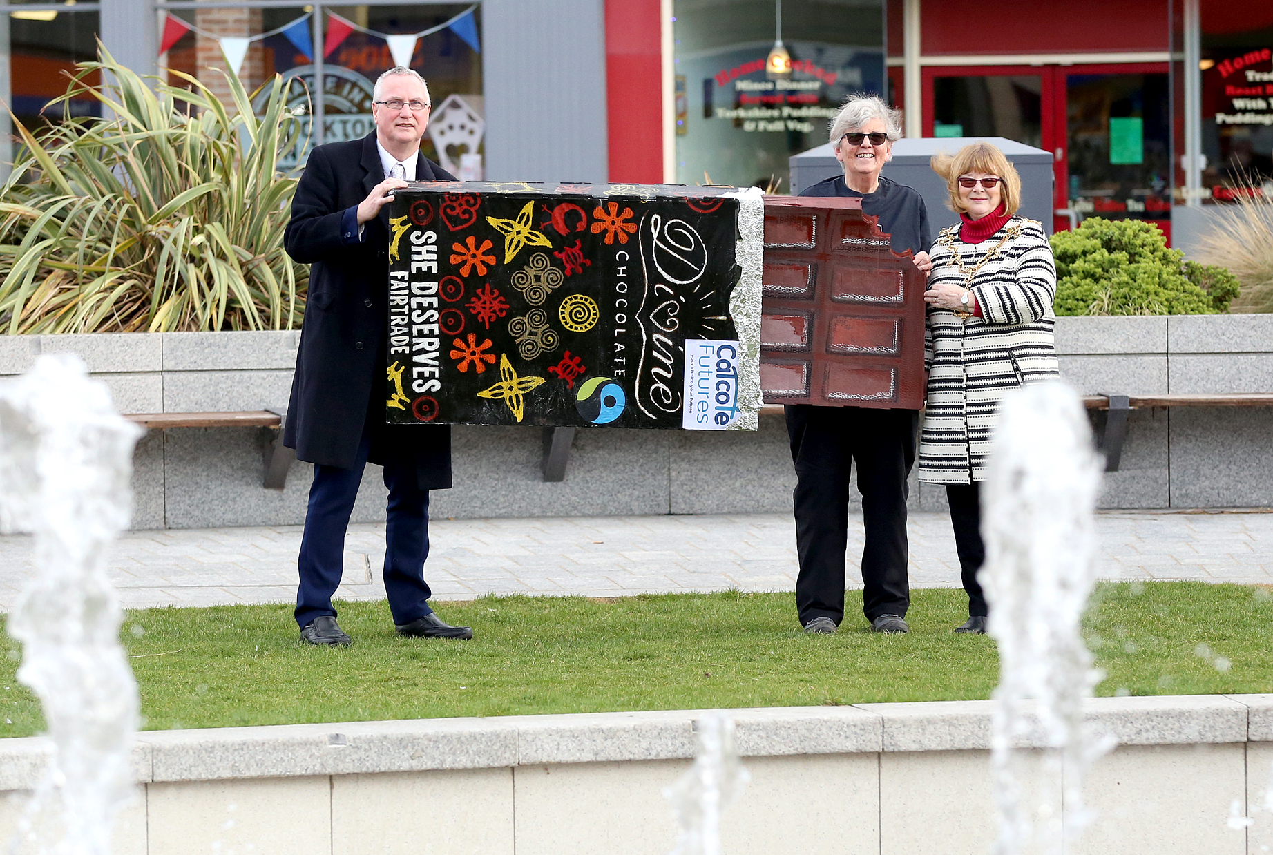 A giant chocolate bar being carried through Stockton to mark Fairtrade Fortnight