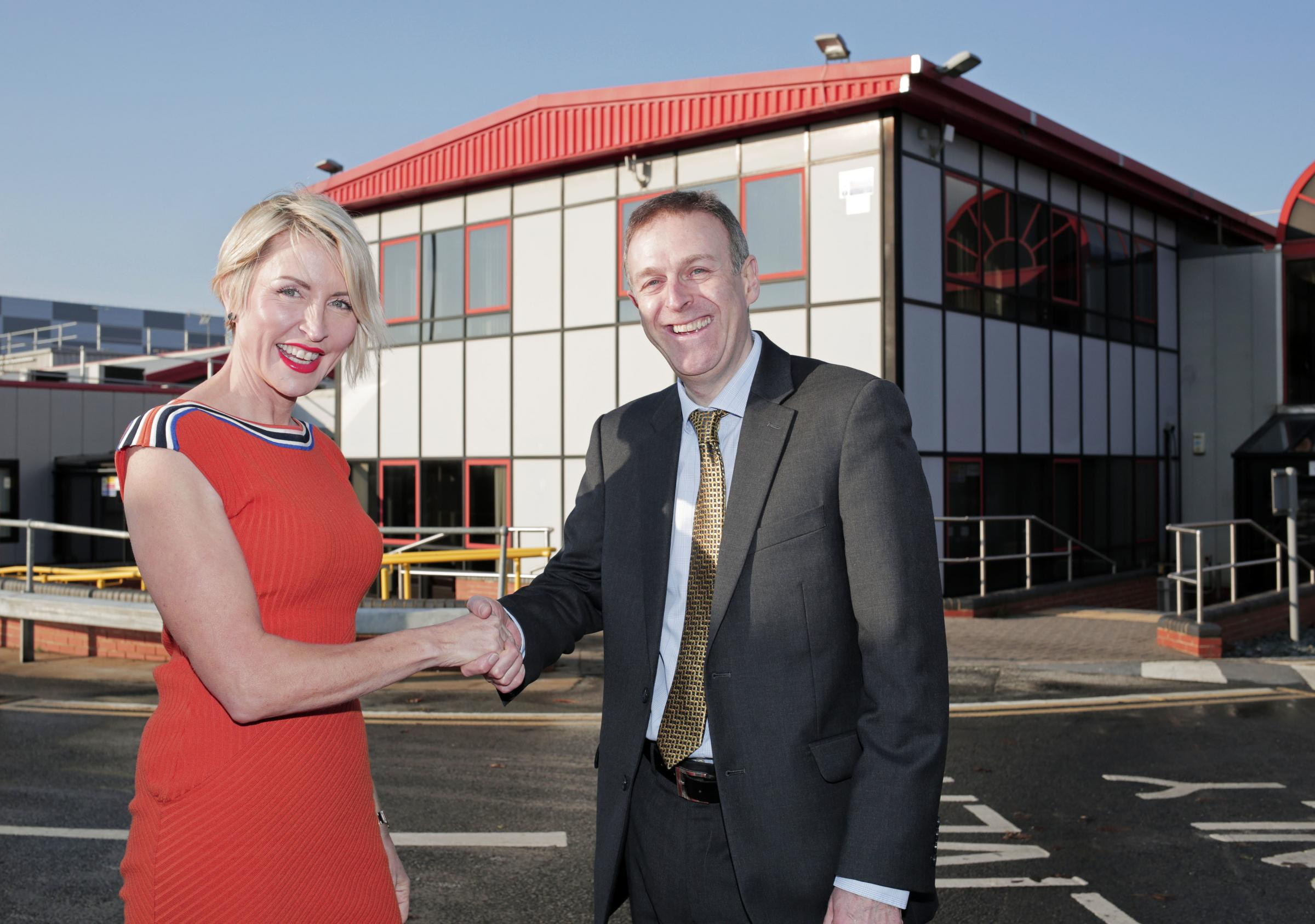 OPENING SOON: Heather Mills and Business Durham's Peter Rippingale at the former Walkers Crisps factory in Peterlee Picture: STUART BOULTON