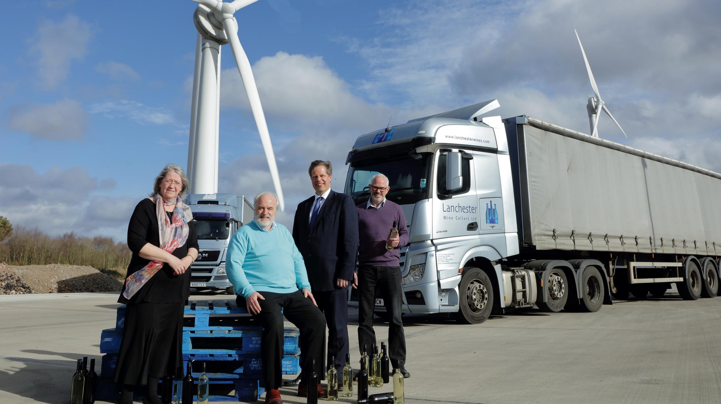 BOTTLING IT: Pictured, from left, Veronica and Tony Cleary, of Lanchester Group, Julian Critchlow, director general of Energy Transformation and Clean Growth at the Department for Business, Energy and Industrial Strategy and Adam Black, head of energy Lan