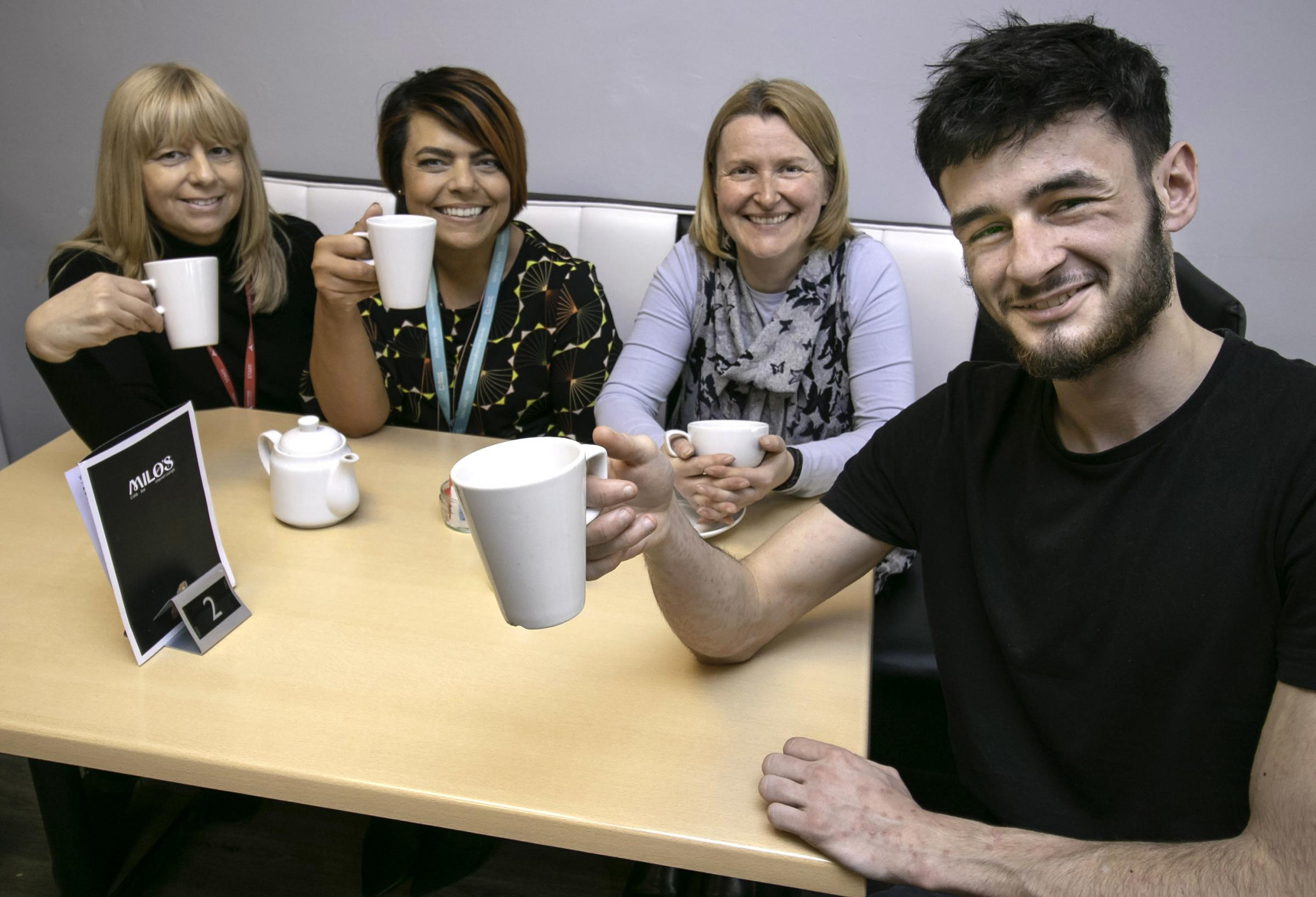 Apprentice Morgan Speirs, right, pictured at Milo's Cafe Bar with from left, Val Hogan from Northern Skills Group, Johanna Watts, Beyond Housing YEI Employment Engagement Officer and Milo's owner Janet Dalton