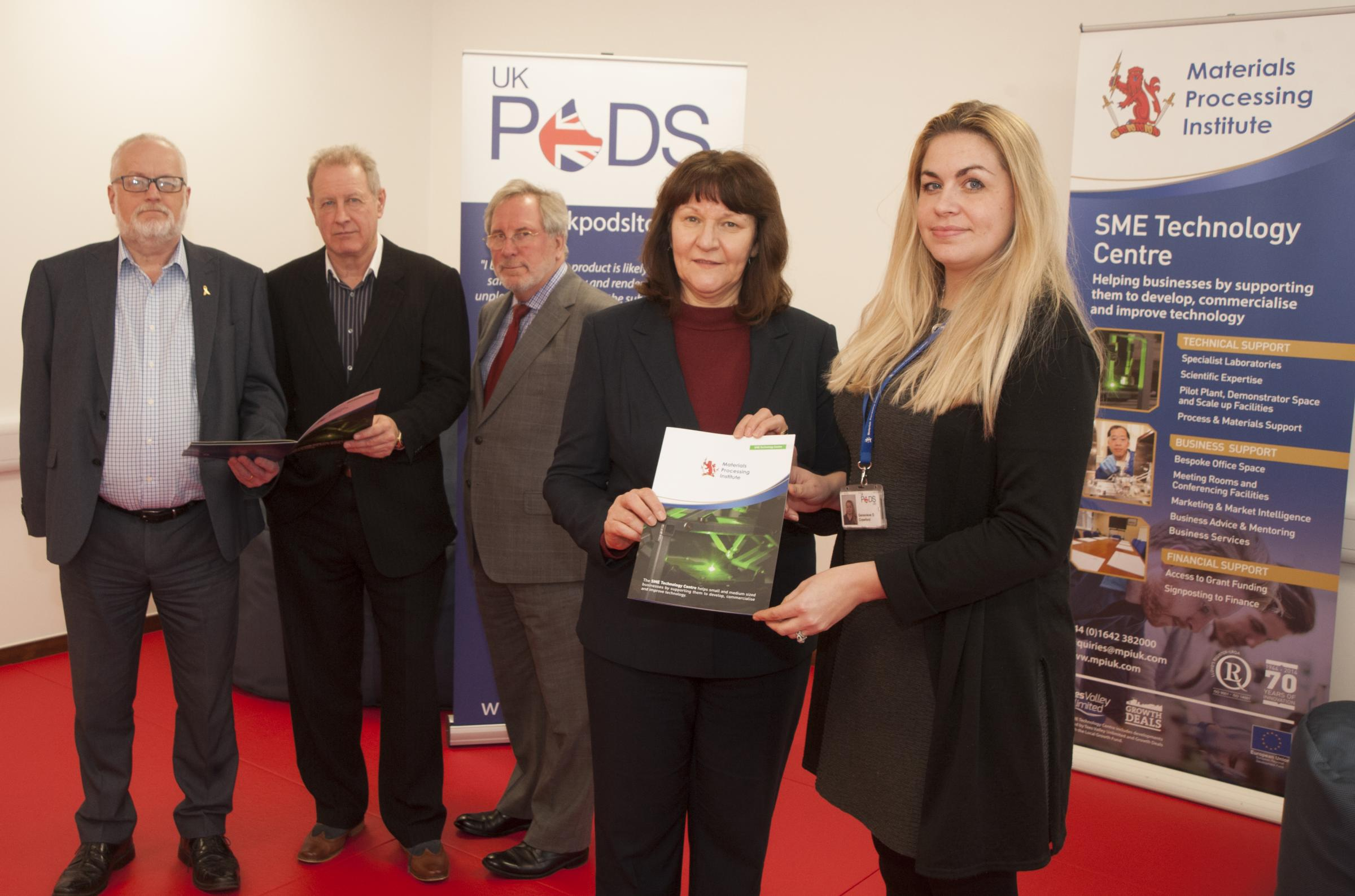 From left, Stephen Carey, Ian Swain, Paul Taylor and Carol Patton (all from the Materials Processing Institute) with Genevieve Crawford, MD of UK Pods Ltd, one of the resident businesses at the Institute