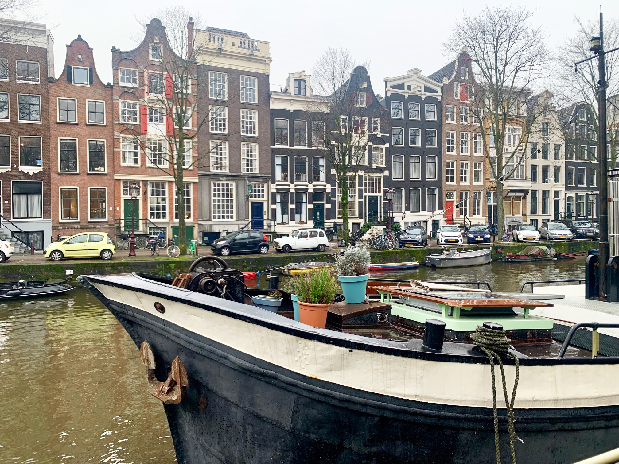 A typical canalside view in Amsterdam