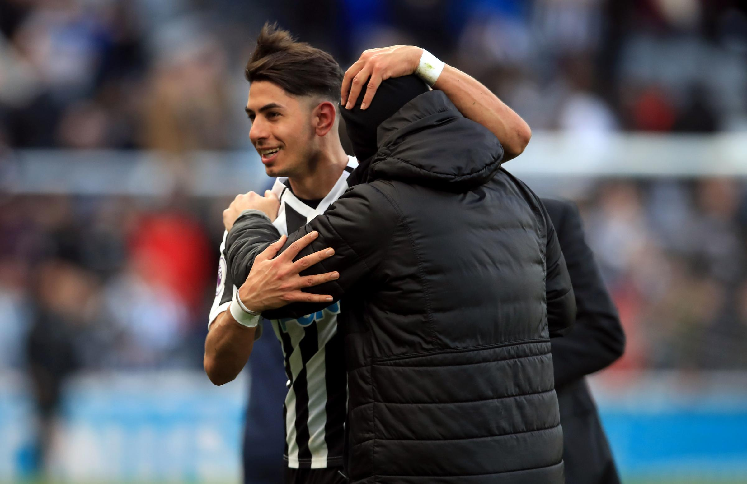 BRACE: Newcastle United's two-goal Ayoze Perez after today's 3-2 win against Everton