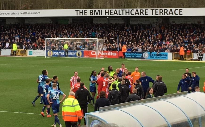 TOUCHLINE INCIDENT: The players and staff of Wycombe and Sunderland were involved in a touchline brawl that spilled on to the pitch at Adams Park (Picture: Scott Wilson)