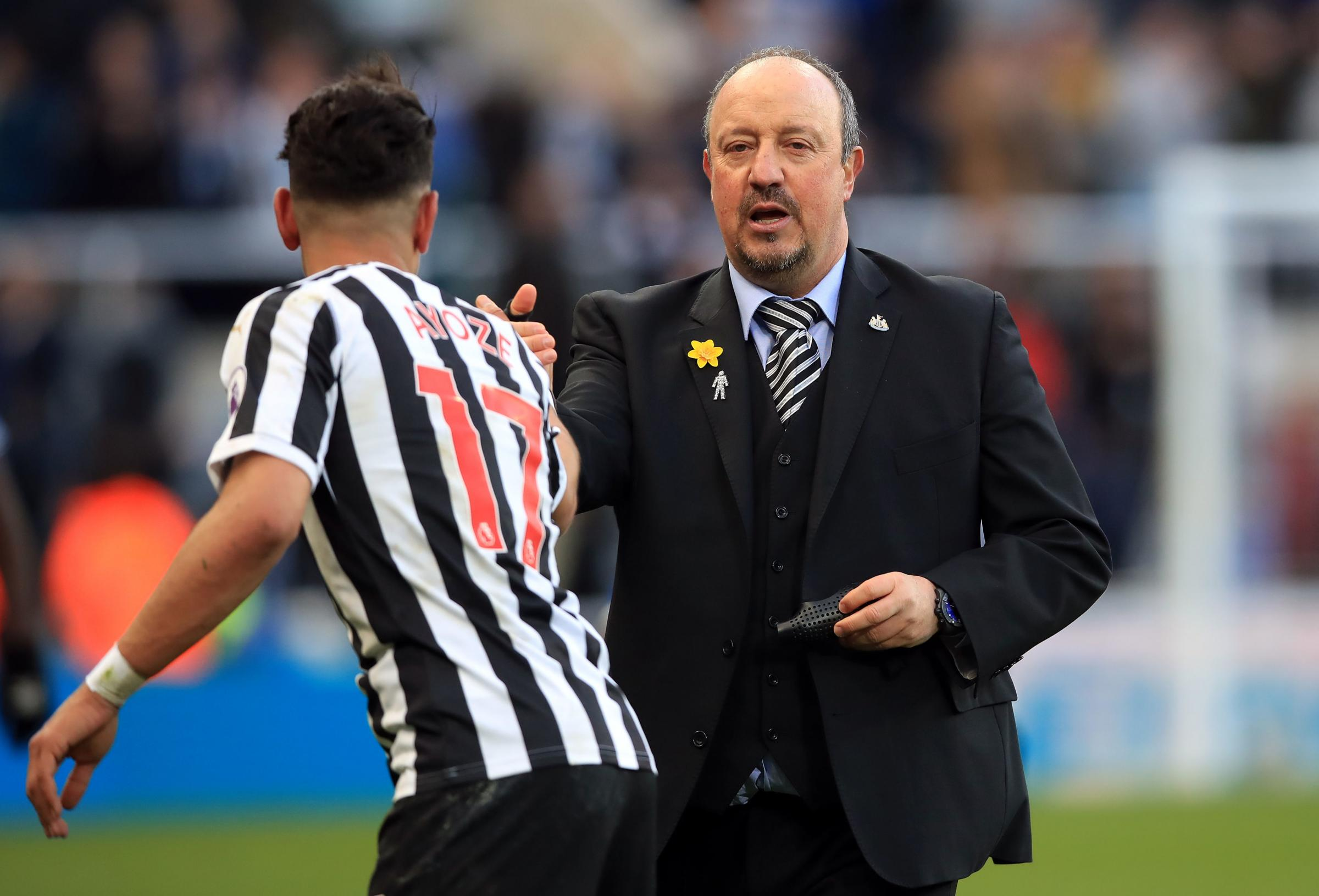 Newcastle United's Ayoze Perez and manager Rafael Benitez after the Premier League match at St James' Park, Newcastle. PRESS ASSOCIATION Photo. Picture date: Saturday March 9, 2019. See PA story SOCCER Newcastle. Photo credit should read: Owen Hu