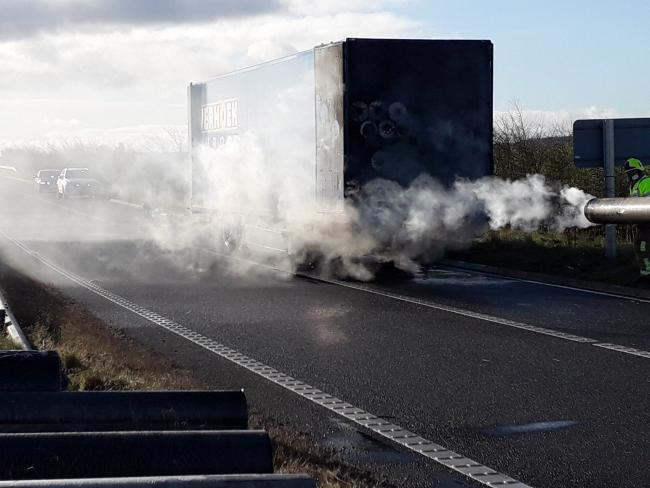 LORRY FIRE: An exit slip road of the A1(M) at Junction 50 is closed following a lorry fire. Picture: Ben Cairns, North Yorkshire Fire & Rescue, Harrogate and Craven Group Manager